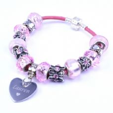 Pink Personalised European Style Bracelet with Engraved Heart Charm